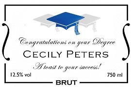personalized champagne label graduation