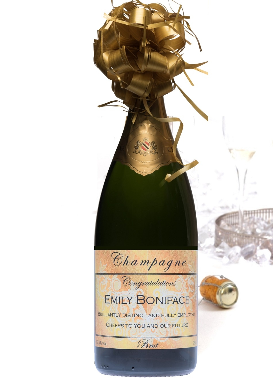 personalised champagne magnum gold label