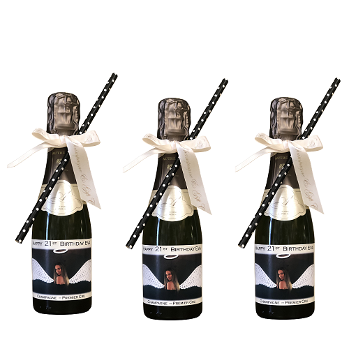 personalized miniature champagne bottles with bows and straws