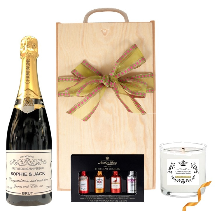 Champagne Candle and chocoalte Gift Set Personalised