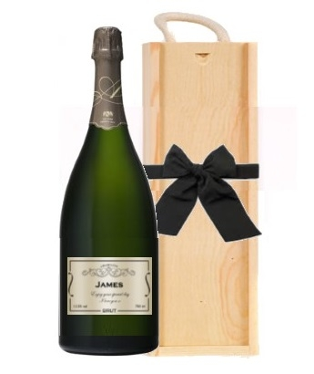 jeroboam of personalised champagne in wooden box