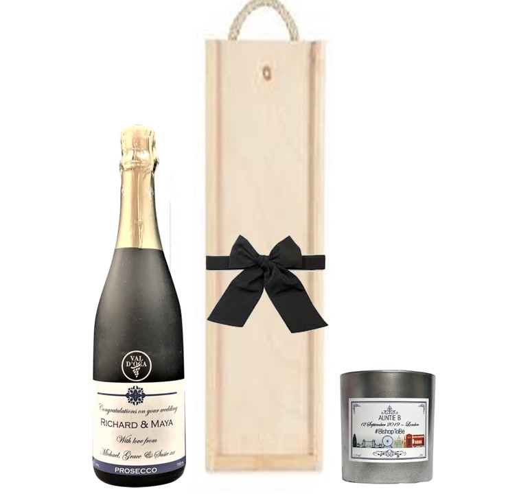 personalized champagne and candle gift set