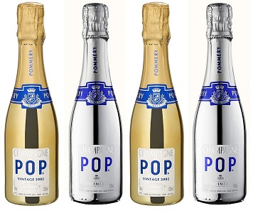 pommery pop gold and silver champagne bottles