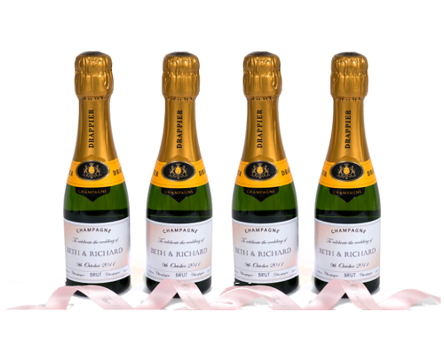 miniature personalised champagne bottles