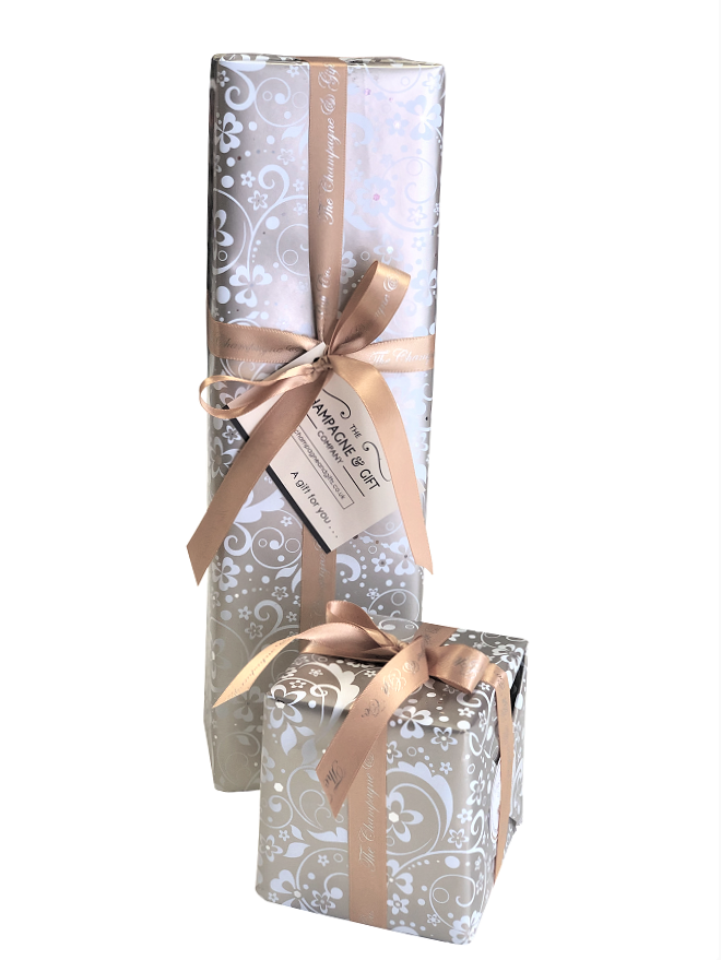 beautiful gift wrapping champagne