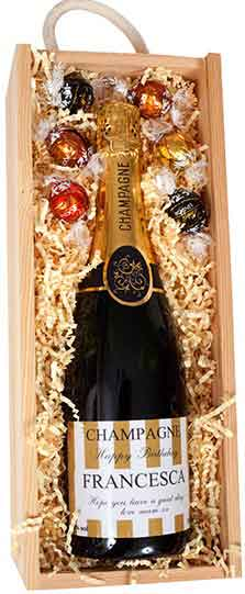 luxury perosnalised champagne and chocolate gift in wooden presentation box