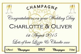 wedding champagne label personalised by you online