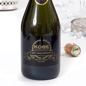 business champagne branded bottle