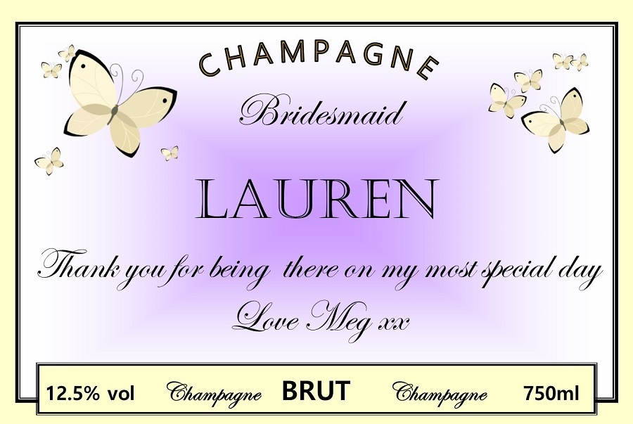 personalised wedding champagne label