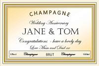personalised wedding champagne label cream