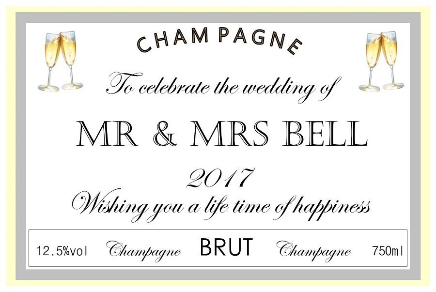 personalised wedding champagne label with flutes