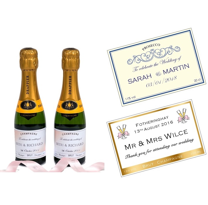 Personalised Mini Wedding Champagne Bottles for Fabours